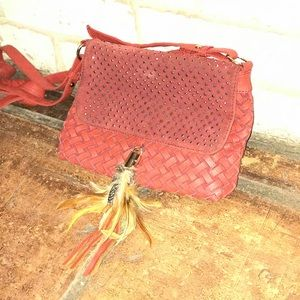 Red feather crossover purse